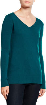 Neiman Marcus V-Neck Long-Sleeve Modern Cashmere Sweater