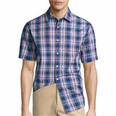 Claiborne Button-Front Short Sleeve Pattern Woven