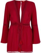 River Island Womens Red lace bell sleeve beach caftan