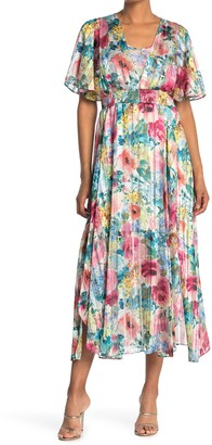 Kensie Floral Smocked Waist Maxi Dress