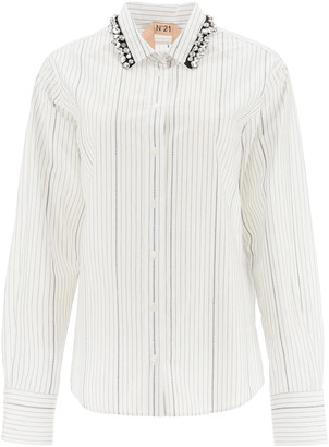 N°21 N.21 Pinstripe Shirt With Crystals