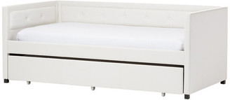 Baxton Studio Frank Faux Leather Button-Tufting Sofa Twin Daybed w/ Trundle Bed, Whi