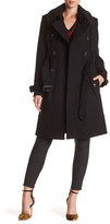 London Fog Wool Blend Detachable Faux Shearling Collar Trench Coat