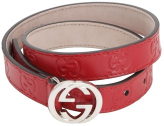 Gucci Embossed Interlocking G Leather Belt