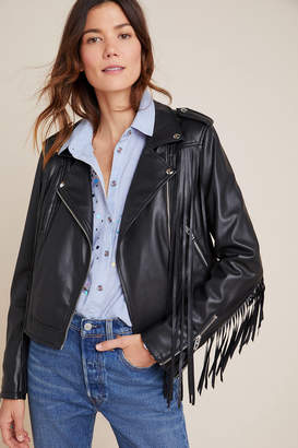 Blank NYC Fringed Faux Leather Moto Jacket