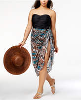 Miraclesuit Plus Size Printed Side-Tie Cover-Up Skirt,A Macy's Exclusive Style