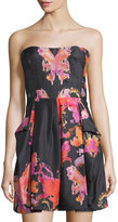 See by Chloe Strapless Watercolor-Print Silk Dress