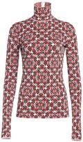Escada Printed Knit Stretch-Silk Turtleneck Sweater