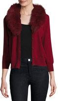 Milly V-Neck Wool Cardigan w/ Fox Fur Collar, Bordeaux