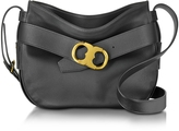 Tory Burch Gemini Link Belted Black Leather Small Hobo