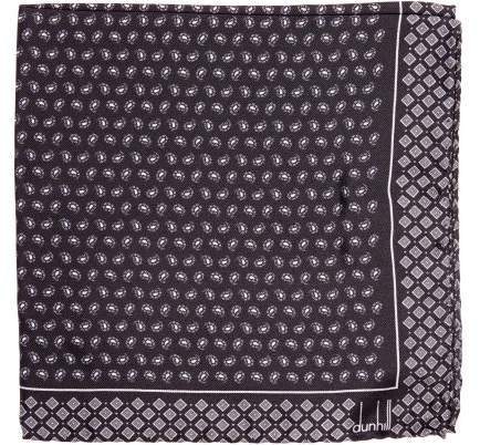 Dunhill Paisley Print Silk Pocket Square - Mens - Grey
