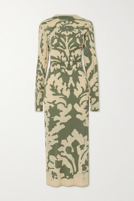 IOANNES Open-back Printed Stretch-mesh Maxi Dress - Beige