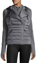 Blanc Noir 3-in-1 Satin Packable Moto Jacket & Vest, Charcoal
