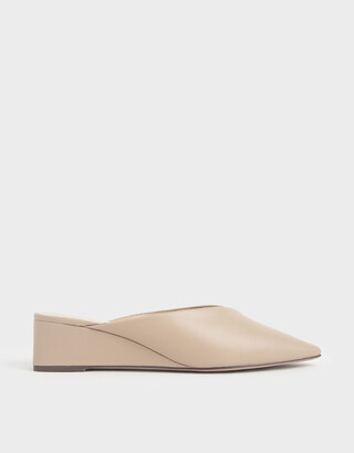 Charles & Keith Pointed Toe Wedge Heel Mules