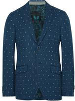 Etro Blue Slim-Fit Cotton-Jacquard Blazer