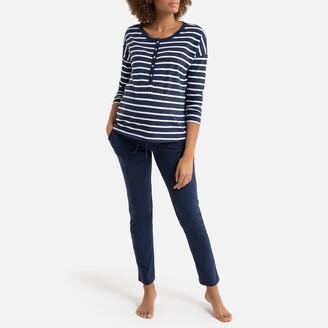 "La Redoute Collections Cotton Maternity/Nursing Pyjamas, Length 30.5"""