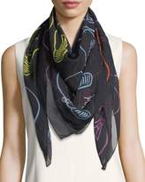 Anna Coroneo Silk Chiffon Square Light Bulbs Scarf, Multi
