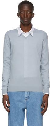 Lanvin Blue Merino V-Neck Sweater