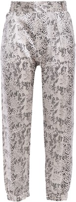 ATM Anthony Thomas Melillo Cropped Snake-print Silk-satin Tapered Pants