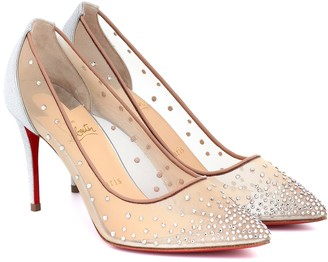 Christian Louboutin Follies Strass embellished mesh pumps