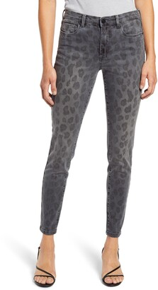 Blank NYC The Bond Leopard Print Ankle Skinny Jeans