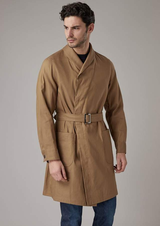 9aa07c99f2 Water Repellent Linen Blend Straw Trench Coat Washed In Garment