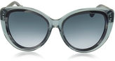 Balenciaga BA0026 92W Transparent Grey & Dark Grey Horn Acetate Cat Eye Sunglasses