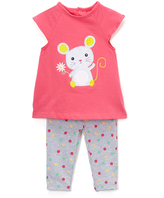 Bon Bebe Pink & Gray Mouse Dress & Leggings