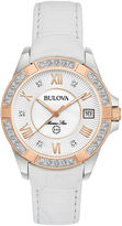 Bulova Womens White Strap Watch-98r233