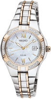 Seiko Womens Two-Tone Diamond-Accent Solar Watch SUT068