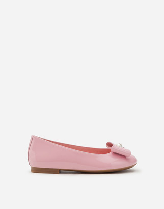 Dolce & Gabbana Patent Leather Ballerina Shoes With Bow