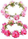 JOKHOO Women's Flower Festival Wedding Hair Wreath BOHO Floral Headband(2 piece) (Pink+rose red)