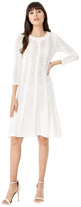 Milly Vertical Open Stitch Dress (White) Women's Clothing