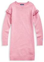 Ralph Lauren Little Girl's & Girl's Ruffle-Trim Wool Sweatshirt Dress
