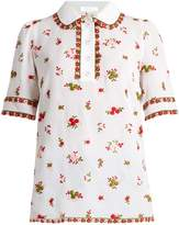 Andrew Gn Floral-embroidered silk-blend polo shirt