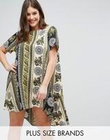 AX Paris Plus Border Print Swing Dress