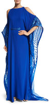 Pamella Roland Crystal-Trim Cold-Shoulder Silk Caftan, Electric