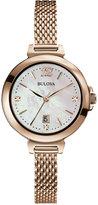 Bulova Women's Diamond Accent Rose Gold-Tone Stainless Steel Bracelet Watch 30mm 97P108