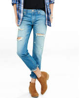 Express Mid Rise Distressed Faded Unrolled Girlfriend Jeans
