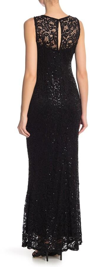 Marina Sequin Lace Sleeveless Maxi Dress