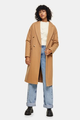 Topshop Womens Petite Camel Classic Double Breasted Coat - Camel