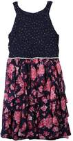 Speechless Girls 7-16 Sparkle Floral Corkscrew Skirt Dress