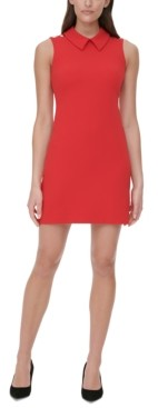 Tommy Hilfiger Petite Collared Scuba Crepe Sheath Dress