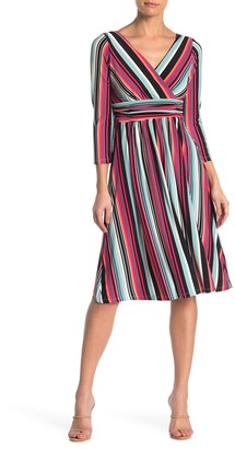 London Times Multi Stripe Jersey Fit & Flare Dress (Petite)