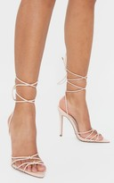 Gary Arg Nude Double Knot Point Toe Lace Up Heel Sandals