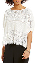 M.S.S.P. Crew Neck Dolman Sleeve Solid Lace Blouse