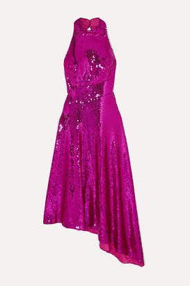 Rasario Asymmetric Open-back Sequined Satin Midi Dress - Magenta