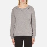 Maison Scotch Women's Crew Neck Sweatshirt with Star Neck Detail Grey