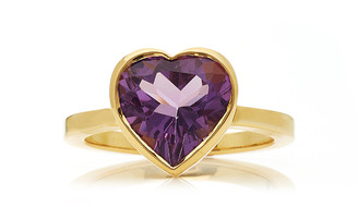 Katey Walker Large Heart 18K Gold and Amethyst Ring
