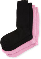 Neiman Marcus Two-Pair Cashmere-Blend Socks, Black/Pink